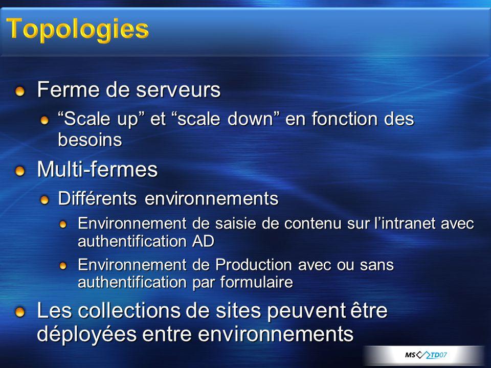 Ferme de serveurs Scale up et scale down en fonction des besoins Multi-fermes Différents environnements Environnement de saisie de contenu sur lintran