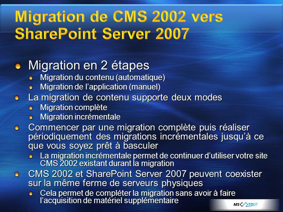 Migration en 2 étapes Migration du contenu (automatique) Migration de lapplication (manuel) La migration de contenu supporte deux modes Migration comp