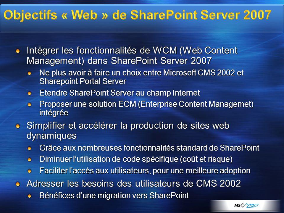 Intégrer les fonctionnalités de WCM (Web Content Management) dans SharePoint Server 2007 Ne plus avoir à faire un choix entre Microsoft CMS 2002 et Sh