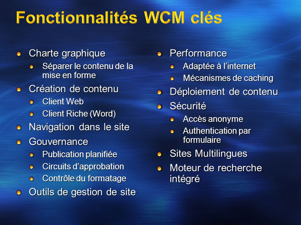 Charte graphique Séparer le contenu de la mise en forme Création de contenu Client Web Client Riche (Word) Navigation dans le site Gouvernance Publica