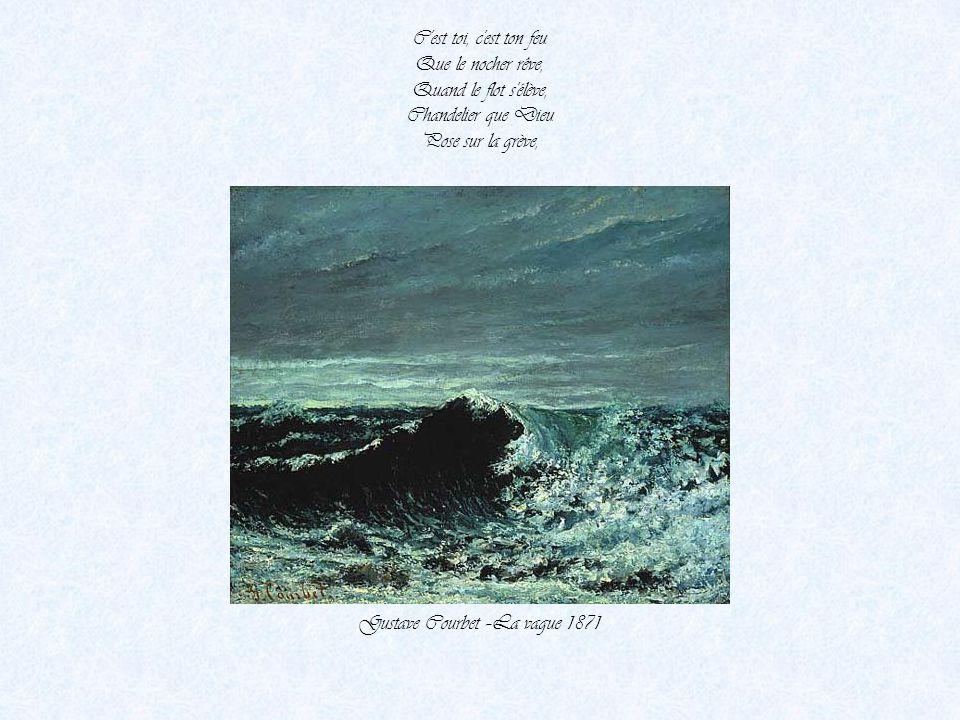 L'un lutte avec l'air, L'autre est à la pompe. - Le vent de la mer Souffle dans sa trompe. Gustave Courbet-La plage à Trouville