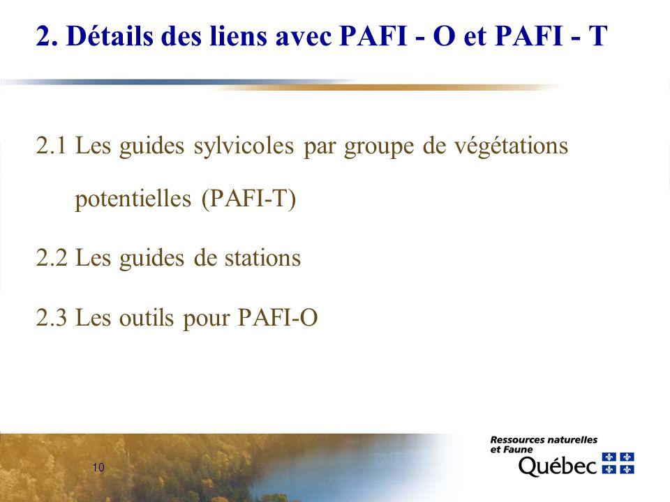 10 2. Détails des liens avec PAFI - O et PAFI - T 2.1 Les guides sylvicoles par groupe de végétations potentielles (PAFI-T) 2.2 Les guides de stations