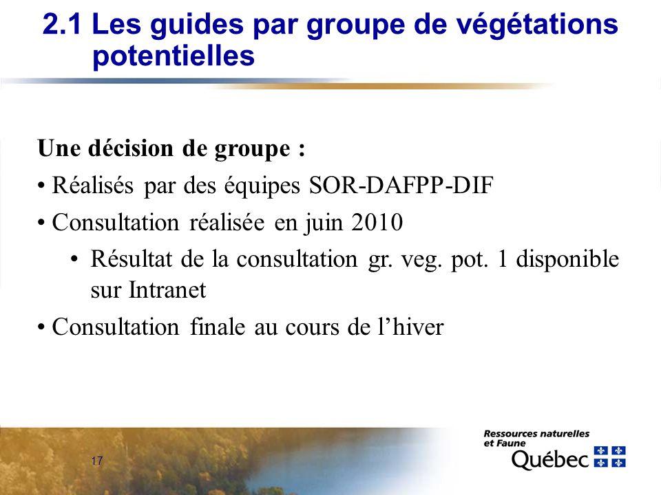 17 Une décision de groupe : Réalisés par des équipes SOR-DAFPP-DIF Consultation réalisée en juin 2010 Résultat de la consultation gr. veg. pot. 1 disp