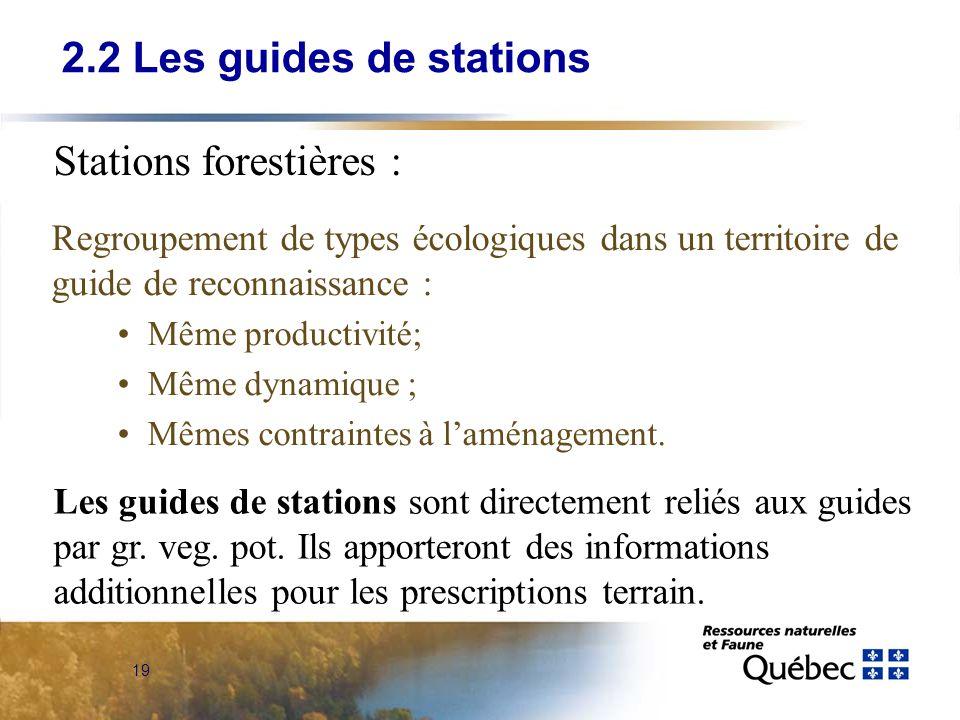 19 Regroupement de types écologiques dans un territoire de guide de reconnaissance : Même productivité; Même dynamique ; Mêmes contraintes à laménagem