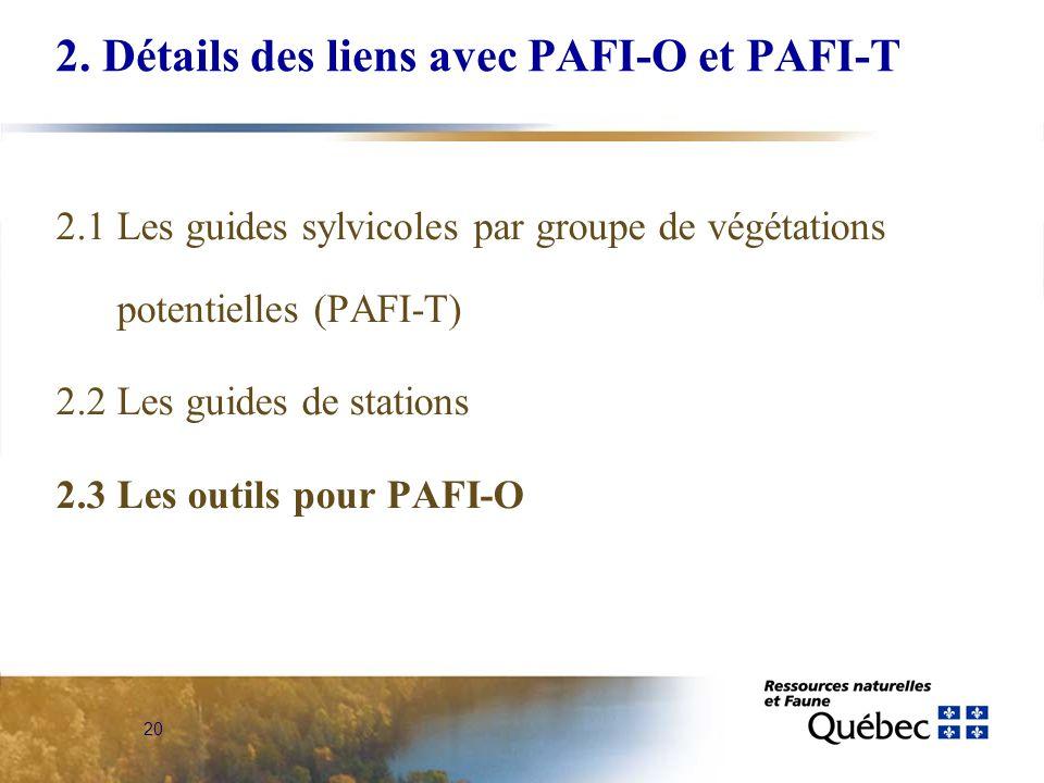 20 2. Détails des liens avec PAFI-O et PAFI-T 2.1 Les guides sylvicoles par groupe de végétations potentielles (PAFI-T) 2.2 Les guides de stations 2.3