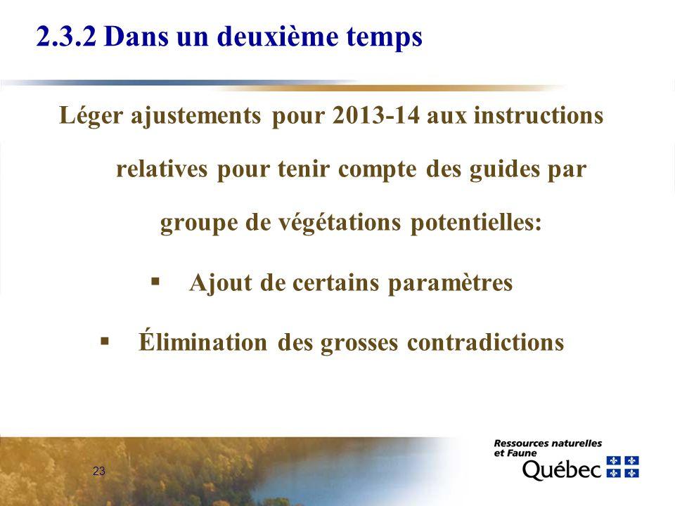 23 2.3.2 Dans un deuxième temps Léger ajustements pour 2013-14 aux instructions relatives pour tenir compte des guides par groupe de végétations poten