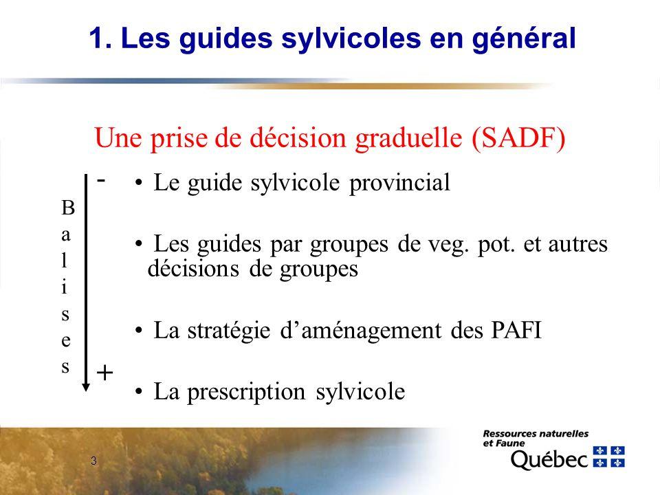 3 Le guide sylvicole provincial Les guides par groupes de veg. pot. et autres décisions de groupes La stratégie daménagement des PAFI La prescription