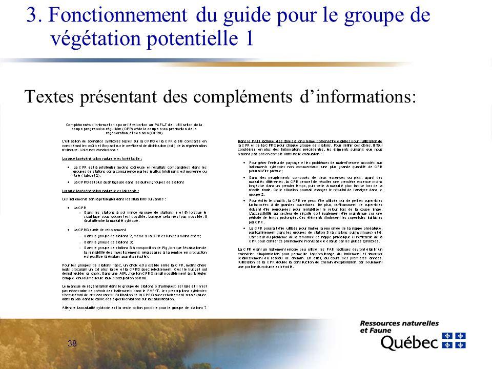 38 Textes présentant des compléments dinformations: 3. Fonctionnement du guide pour le groupe de végétation potentielle 1