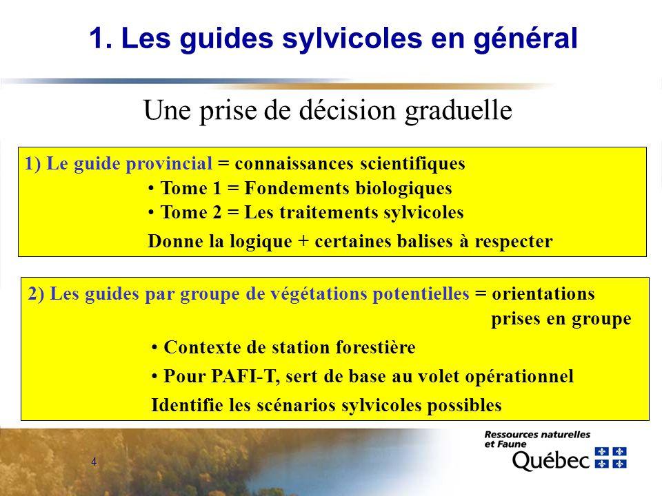 4 Une prise de décision graduelle 1) Le guide provincial = connaissances scientifiques Tome 1 = Fondements biologiques Tome 2 = Les traitements sylvic