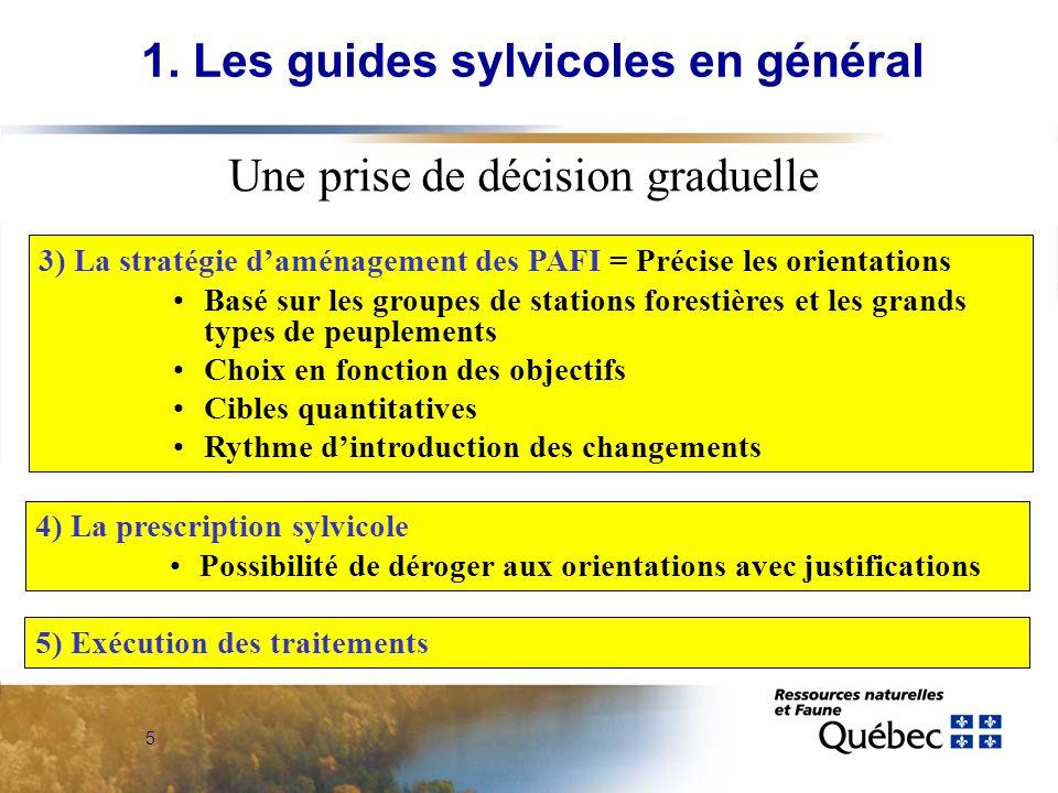 5 3) La stratégie daménagement des PAFI = Précise les orientations Basé sur les groupes de stations forestières et les grands types de peuplements Cho