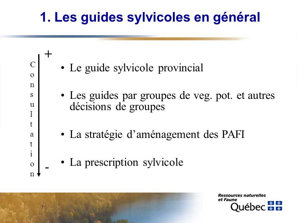 7 Le guide sylvicole provincial Les guides par groupes de veg. pot. et autres décisions de groupes La stratégie daménagement des PAFI La prescription