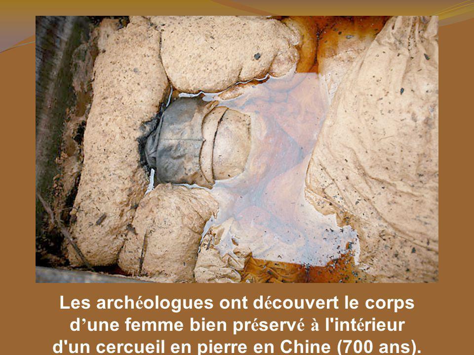 Les arch é ologues ont d é couvert le corps d une femme bien pr é serv é à l int é rieur d un cercueil en pierre en Chine (700 ans).