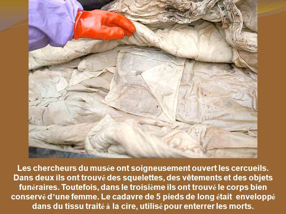 Les chercheurs du mus é e ont soigneusement ouvert les cercueils.