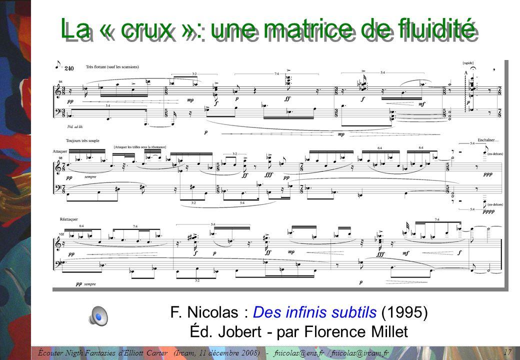 Écouter Nigth Fantasies d Elliott Carter (Ircam, 11 décembre 2008) - fnicolas@ens.fr / fnicolas@ircam.fr 17 La « crux »: une matrice de fluidité F.