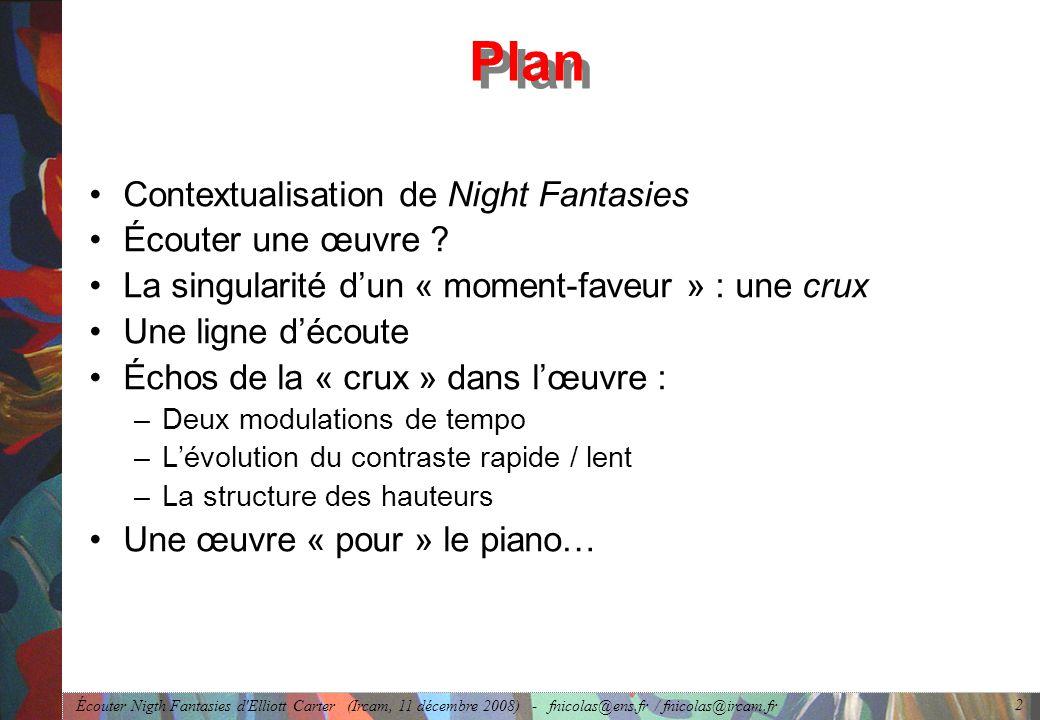 Écouter Nigth Fantasies d'Elliott Carter (Ircam, 11 décembre 2008) - fnicolas@ens.fr / fnicolas@ircam.fr 2 Plan Contextualisation de Night Fantasies É