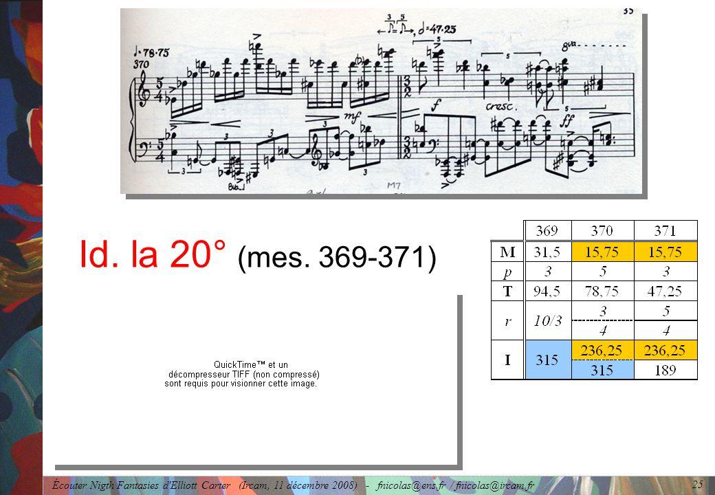 Écouter Nigth Fantasies d'Elliott Carter (Ircam, 11 décembre 2008) - fnicolas@ens.fr / fnicolas@ircam.fr 25 Id. la 20° (mes. 369-371)