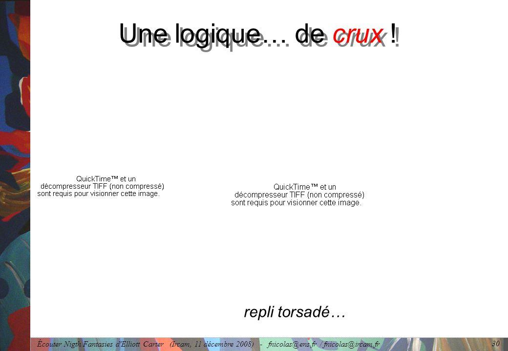 Écouter Nigth Fantasies d Elliott Carter (Ircam, 11 décembre 2008) - fnicolas@ens.fr / fnicolas@ircam.fr 30 Une logique… de crux .