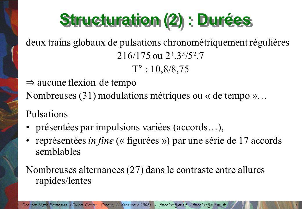 Écouter Nigth Fantasies d Elliott Carter (Ircam, 11 décembre 2008) - fnicolas@ens.fr / fnicolas@ircam.fr 5 Structuration (2) : Durées deux trains globaux de pulsations chronométriquement régulières 216/175 ou 2 3.3 3 /5 2.7 T° : 10,8/8,75 aucune flexion de tempo Nombreuses (31) modulations métriques ou « de tempo »… Pulsations présentées par impulsions variées (accords…), représentées in fine (« figurées ») par une série de 17 accords semblables Nombreuses alternances (27) dans le contraste entre allures rapides/lentes