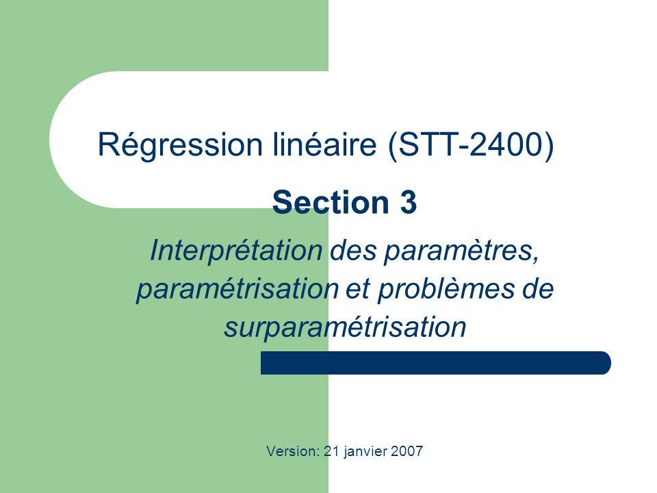 Régression linéaire (STT-2400) Section 3 Interprétation des paramètres, paramétrisation et problèmes de surparamétrisation Version: 21 janvier 2007