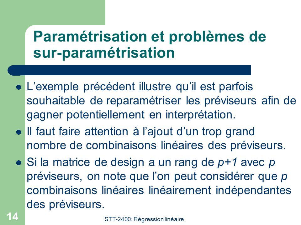 STT-2400; Régression linéaire 14 Paramétrisation et problèmes de sur-paramétrisation Lexemple précédent illustre quil est parfois souhaitable de reparamétriser les préviseurs afin de gagner potentiellement en interprétation.