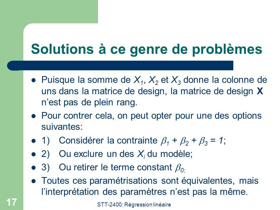 STT-2400; Régression linéaire 17 Solutions à ce genre de problèmes Puisque la somme de X 1, X 2 et X 3 donne la colonne de uns dans la matrice de design, la matrice de design X nest pas de plein rang.