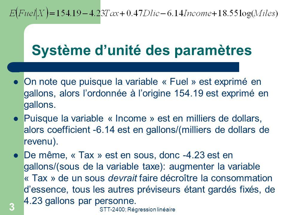 STT-2400; Régression linéaire 3 Système dunité des paramètres On note que puisque la variable « Fuel » est exprimé en gallons, alors lordonnée à lorigine 154.19 est exprimé en gallons.