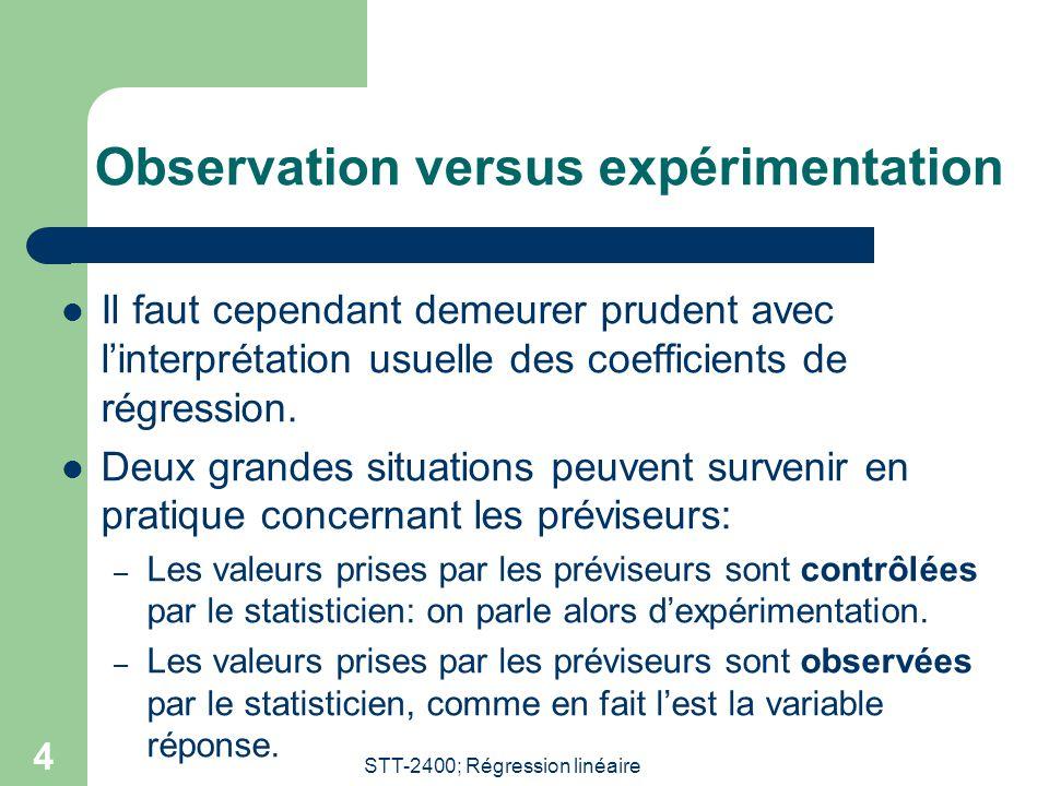 STT-2400; Régression linéaire 4 Observation versus expérimentation Il faut cependant demeurer prudent avec linterprétation usuelle des coefficients de régression.