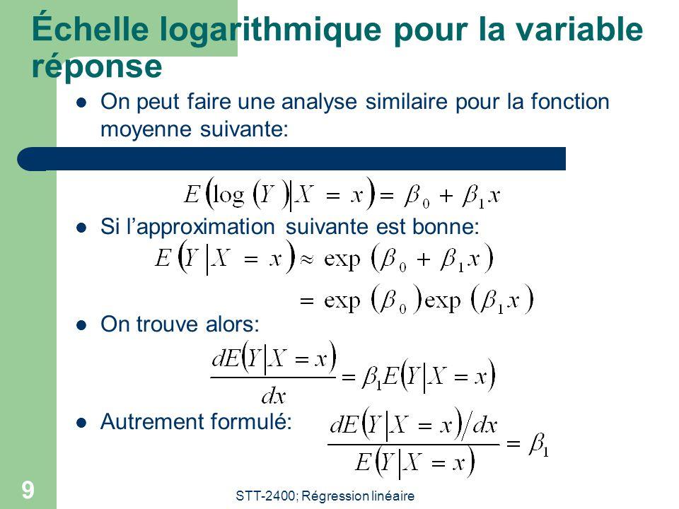 STT-2400; Régression linéaire 9 Échelle logarithmique pour la variable réponse On peut faire une analyse similaire pour la fonction moyenne suivante: Si lapproximation suivante est bonne: On trouve alors: Autrement formulé: