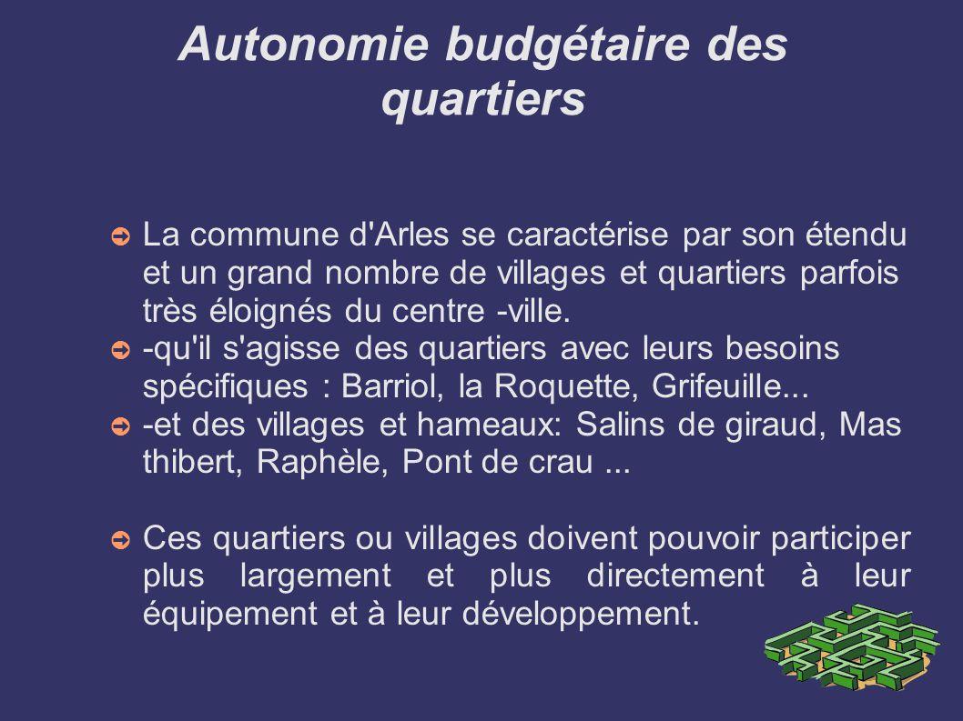 Autonomie budgétaire des quartiers La commune d Arles se caractérise par son étendu et un grand nombre de villages et quartiers parfois très éloignés du centre -ville.