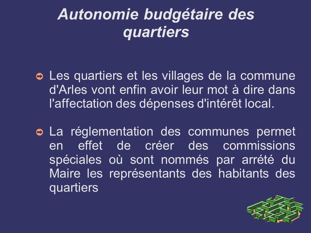Autonomie budgétaire des quartiers Les quartiers et les villages de la commune d Arles vont enfin avoir leur mot à dire dans l affectation des dépenses d intérêt local.
