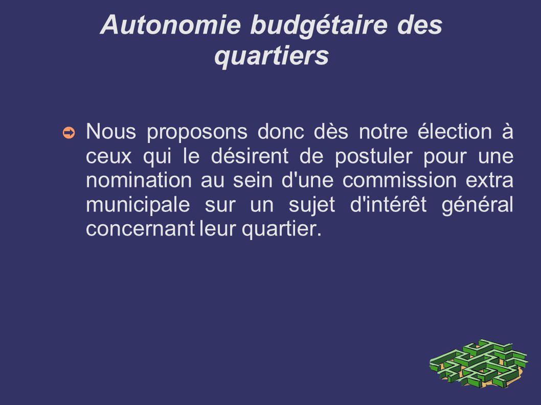 Autonomie budgétaire des quartiers Nous proposons donc dès notre élection à ceux qui le désirent de postuler pour une nomination au sein d une commission extra municipale sur un sujet d intérêt général concernant leur quartier.