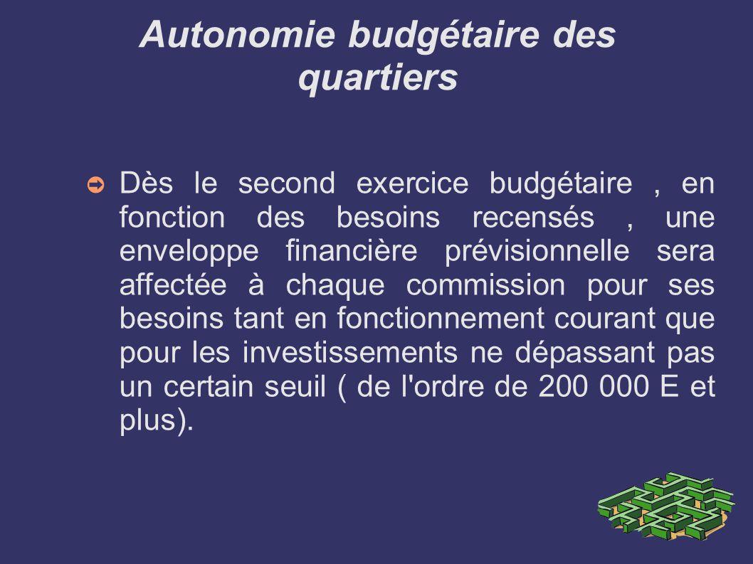Autonomie budgétaire des quartiers Dès le second exercice budgétaire, en fonction des besoins recensés, une enveloppe financière prévisionnelle sera affectée à chaque commission pour ses besoins tant en fonctionnement courant que pour les investissements ne dépassant pas un certain seuil ( de l ordre de 200 000 E et plus).