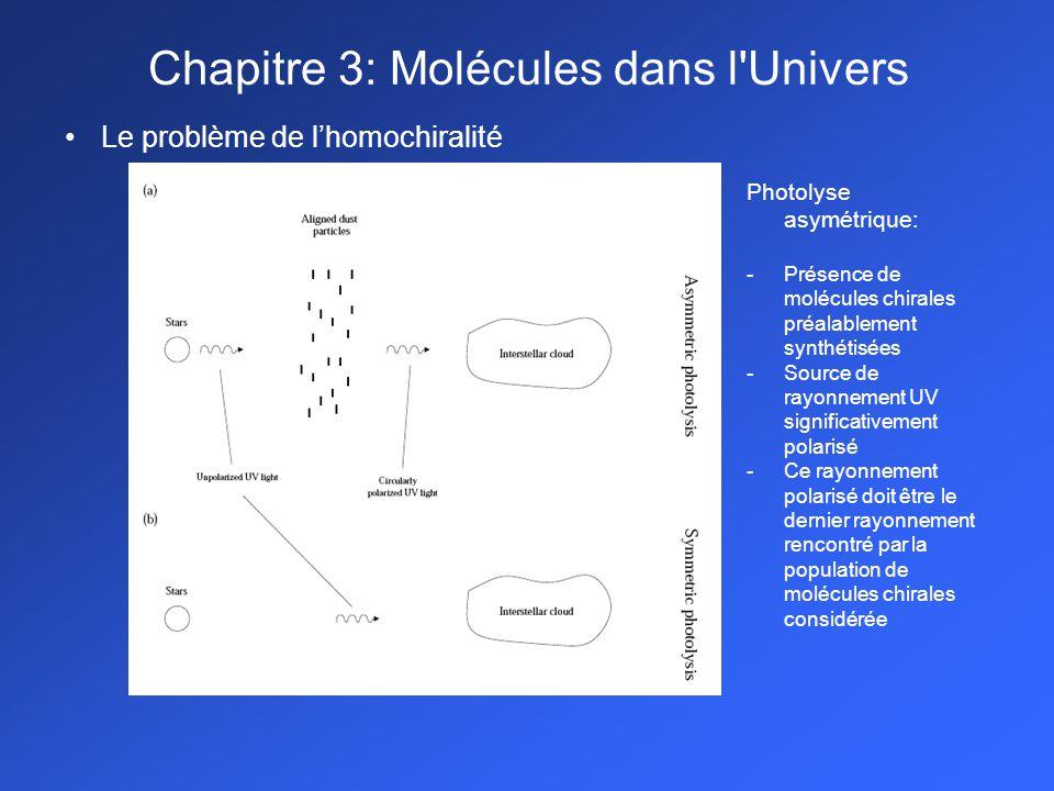 Le problème de lhomochiralité Photolyse asymétrique: -Présence de molécules chirales préalablement synthétisées -Source de rayonnement UV significativement polarisé -Ce rayonnement polarisé doit être le dernier rayonnement rencontré par la population de molécules chirales considérée Chapitre 3: Molécules dans l Univers