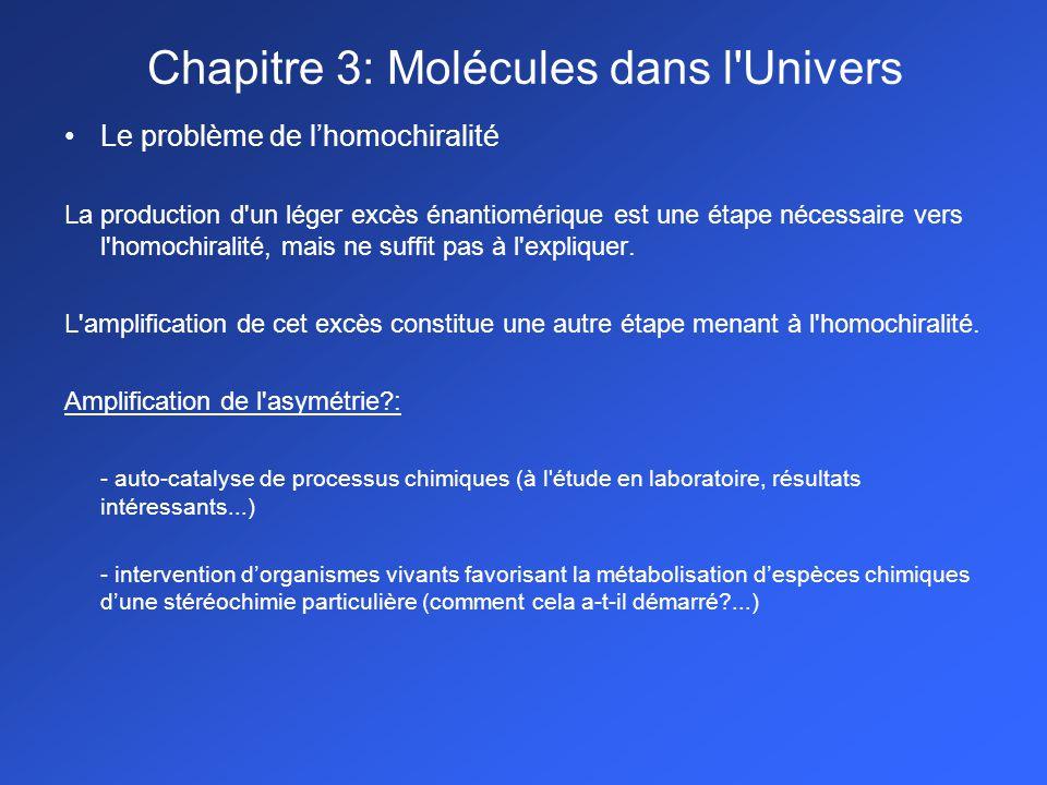 Le problème de lhomochiralité La production d un léger excès énantiomérique est une étape nécessaire vers l homochiralité, mais ne suffit pas à l expliquer.