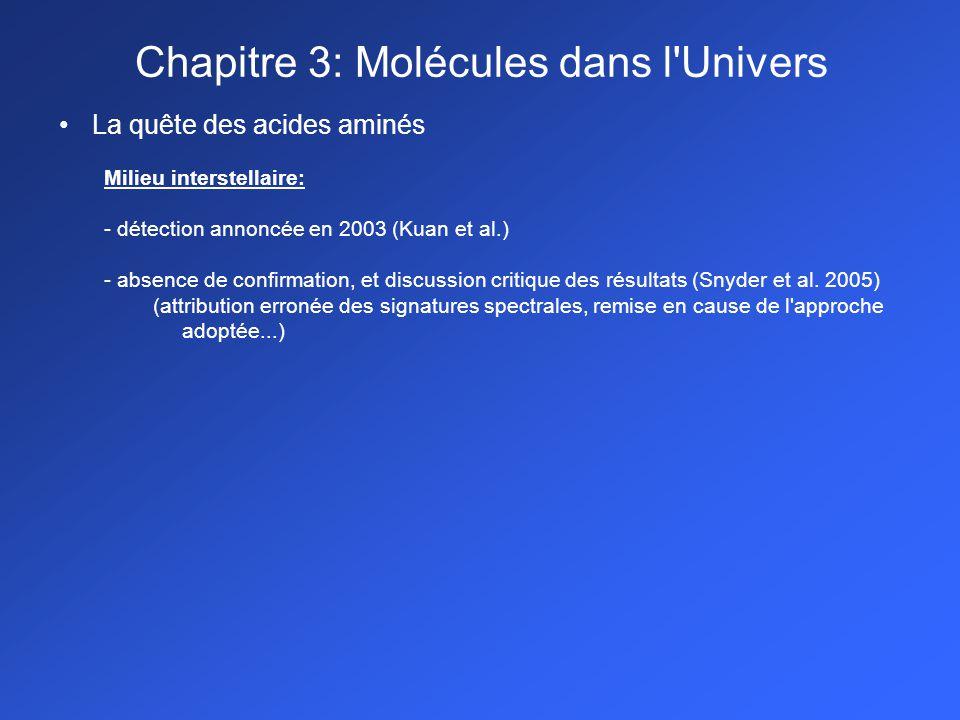 La quête des acides aminés Milieu interstellaire: - détection annoncée en 2003 (Kuan et al.) - absence de confirmation, et discussion critique des résultats (Snyder et al.