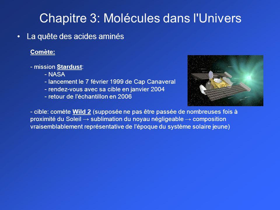 La quête des acides aminés Comète: - mission Stardust: - NASA - lancement le 7 février 1999 de Cap Canaveral - rendez-vous avec sa cible en janvier 20