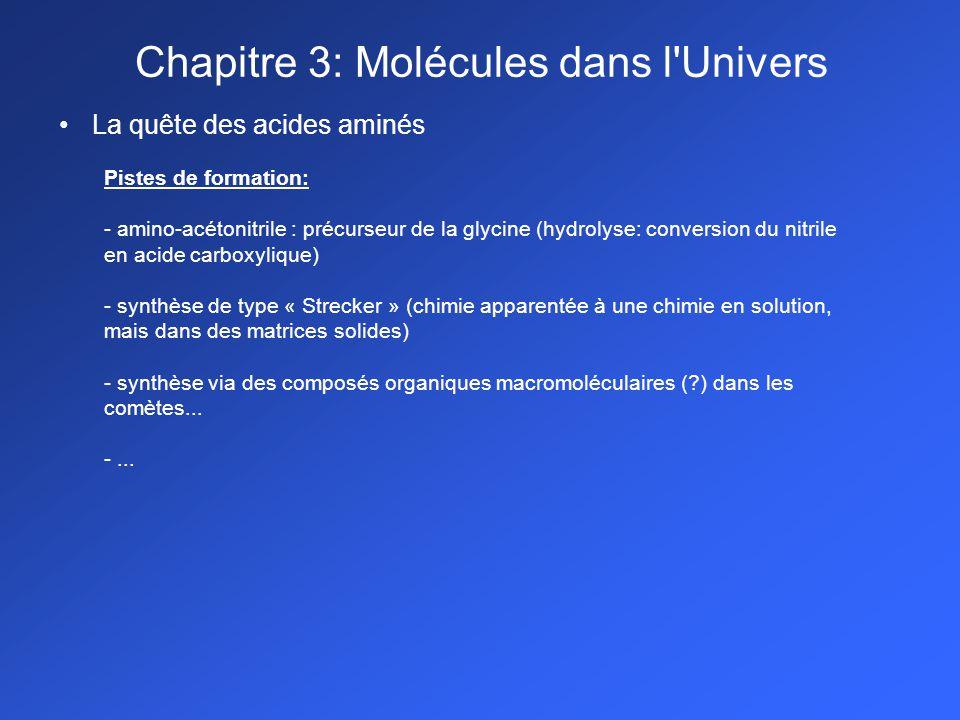 La quête des acides aminés Pistes de formation: - amino-acétonitrile : précurseur de la glycine (hydrolyse: conversion du nitrile en acide carboxyliqu