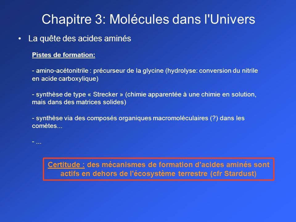La quête des acides aminés Pistes de formation: - amino-acétonitrile : précurseur de la glycine (hydrolyse: conversion du nitrile en acide carboxylique) - synthèse de type « Strecker » (chimie apparentée à une chimie en solution, mais dans des matrices solides) - synthèse via des composés organiques macromoléculaires (?) dans les comètes...