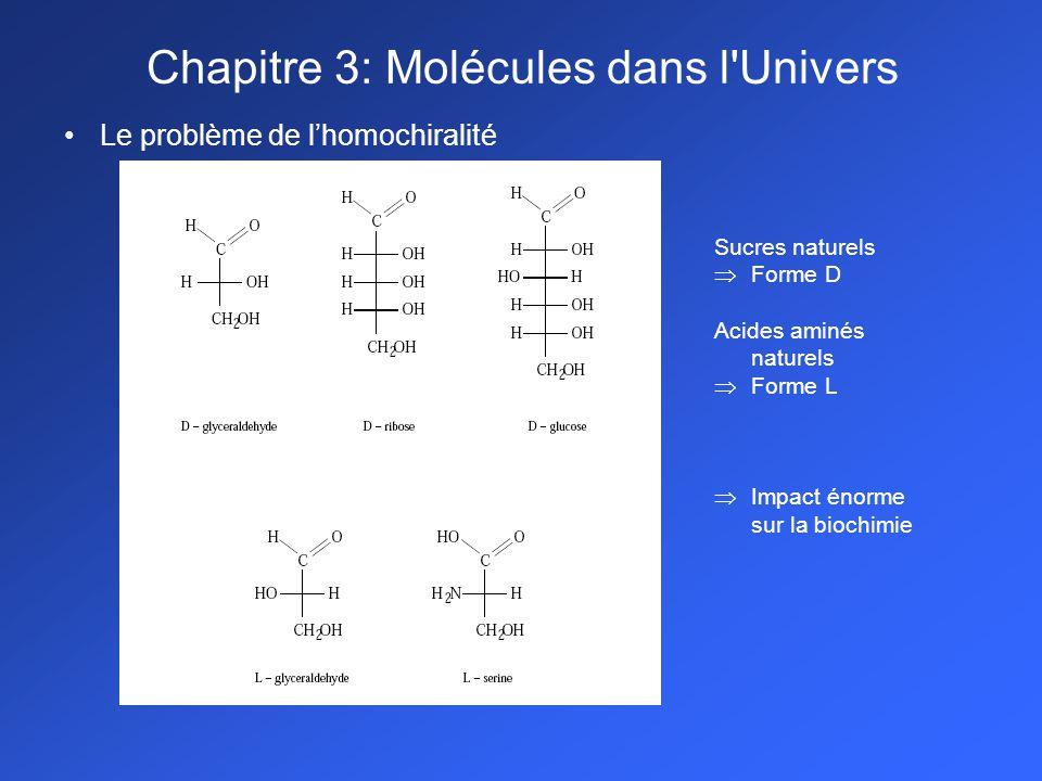 Le problème de lhomochiralité Sucres naturels Forme D Acides aminés naturels Forme L Impact énorme sur la biochimie Chapitre 3: Molécules dans l Univers