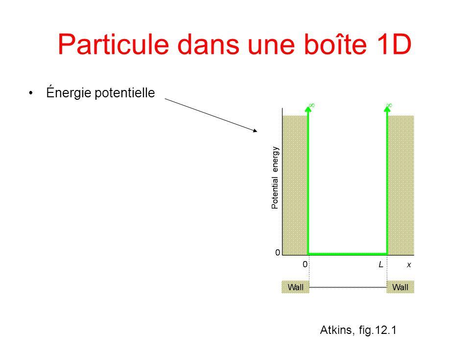 Particule dans une boîte 1D Énergie potentielle Force F=0