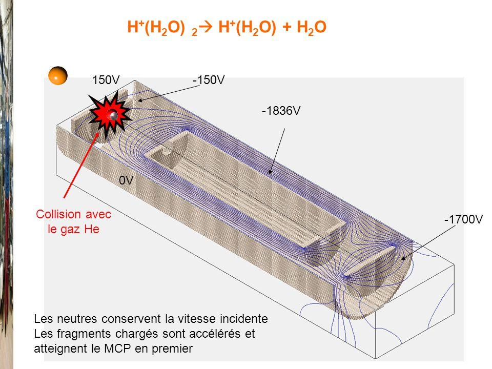 0V -1836V 150V-150V -1700V Collision avec le gaz He H + (H 2 O) 2 H + (H 2 O) + H 2 O Les neutres conservent la vitesse incidente Les fragments chargés sont accélérés et atteignent le MCP en premier