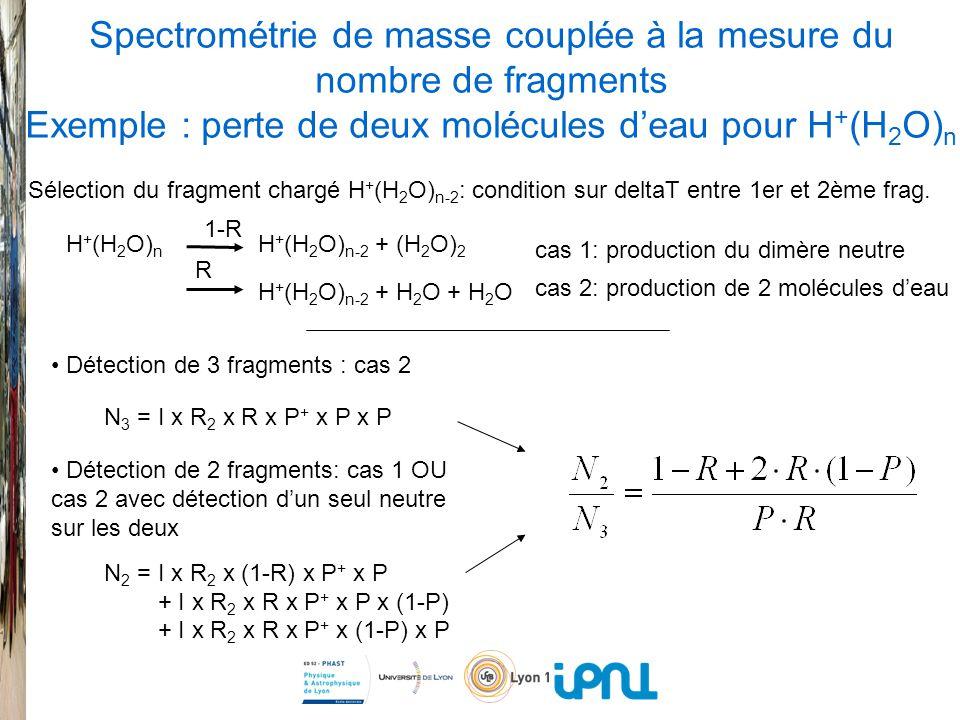 Spectrométrie de masse couplée à la mesure du nombre de fragments Exemple : perte de deux molécules deau pour H + (H 2 O) n H + (H 2 O) n H + (H 2 O) n-2 + (H 2 O) 2 H + (H 2 O) n-2 + H 2 O + H 2 O 1-R R Sélection du fragment chargé H + (H 2 O) n-2 : condition sur deltaT entre 1er et 2ème frag.
