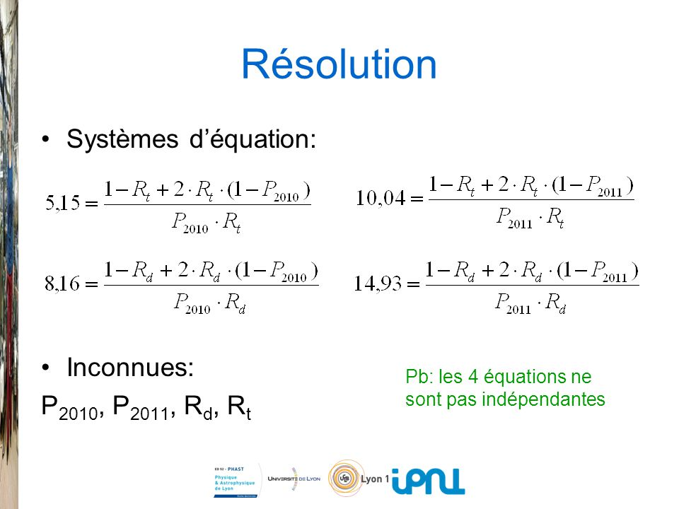Résolution Systèmes déquation: Inconnues: P 2010, P 2011, R d, R t Pb: les 4 équations ne sont pas indépendantes