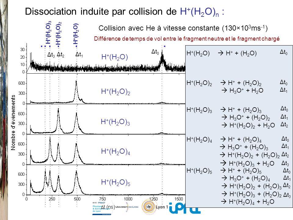 Collision avec He à vitesse constante (130×10 3 ms -1 ) H + (H 2 O) 2 H + + (H 2 O) 2 H 3 O + + H 2 O H + (H 2 O) 3 H + + (H 2 O) 3 H 3 O + + (H 2 O) 2 H + (H 2 O) 2 + H 2 O H + (H 2 O) 4 H + + (H 2 O) 4 H 3 O + + (H 2 O) 3 H + (H 2 O) 2 + (H 2 O) 2 H + (H 2 O) 3 + H 2 O H + (H 2 O) 5 H + + (H 2 O) 5 H 3 O + + (H 2 O) 4 H + (H 2 O) 2 + (H 2 O) 3 H + (H 2 O) 3 + (H 2 O) 2 H + (H 2 O) 4 + H 2 O H + (H 2 O) 2 H + (H 2 O) 3 H + (H 2 O) 4 H + (H 2 O) 5 H + (H 2 O) 2 H + (H 2 O) H + (H 2 O) 3 Différence de temps de vol entre le fragment neutre et le fragment chargé Dissociation induite par collision de H + (H 2 O) n : Δt0Δt0 Δt1Δt1 Δt2Δt2 Δt3Δt3 H + (H 2 O) H + + (H 2 O) H + (H 2 O) Δt0Δt0 Δt0Δt0 Δt0Δt0 Δt0Δt0 Δt0Δt0 Δt1Δt1 Δt1Δt1 Δt1Δt1 Δt1Δt1 Δt2Δt2 Δt2Δt2 Δt2Δt2 Δt3Δt3 Δt3Δt3