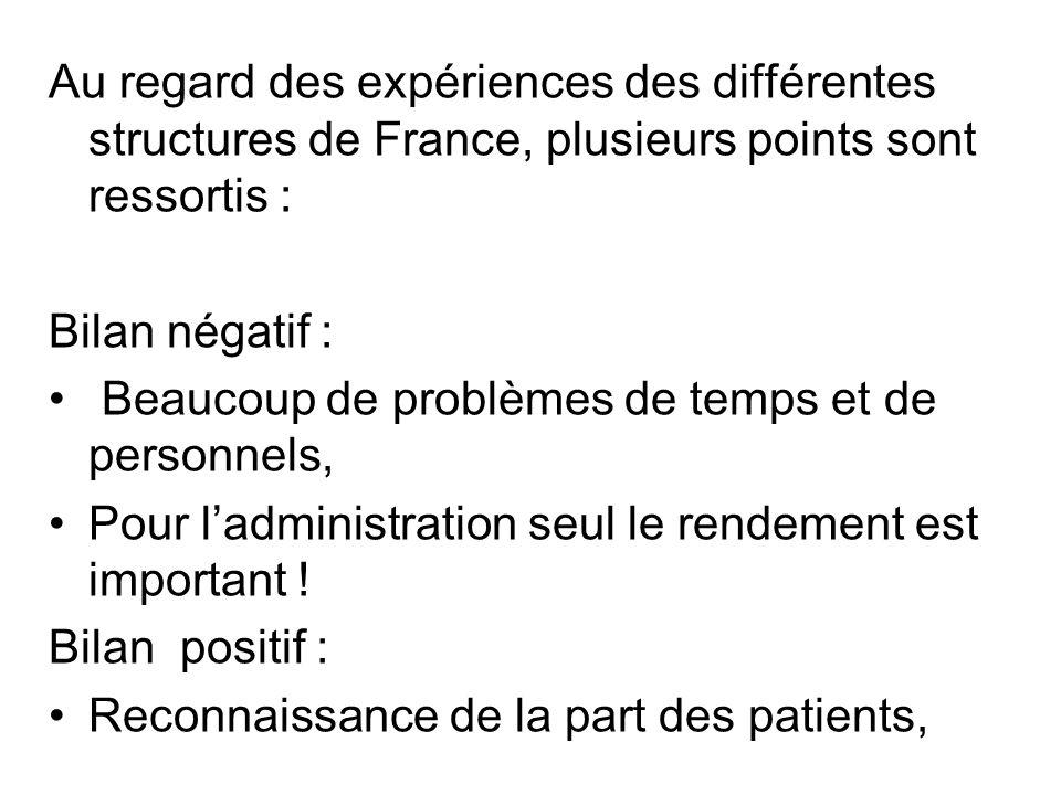 Au regard des expériences des différentes structures de France, plusieurs points sont ressortis : Bilan négatif : Beaucoup de problèmes de temps et de