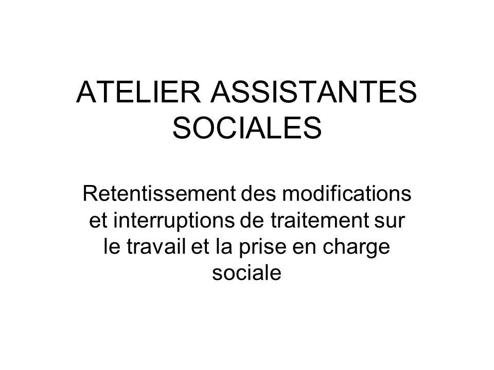 ATELIER ASSISTANTES SOCIALES Retentissement des modifications et interruptions de traitement sur le travail et la prise en charge sociale