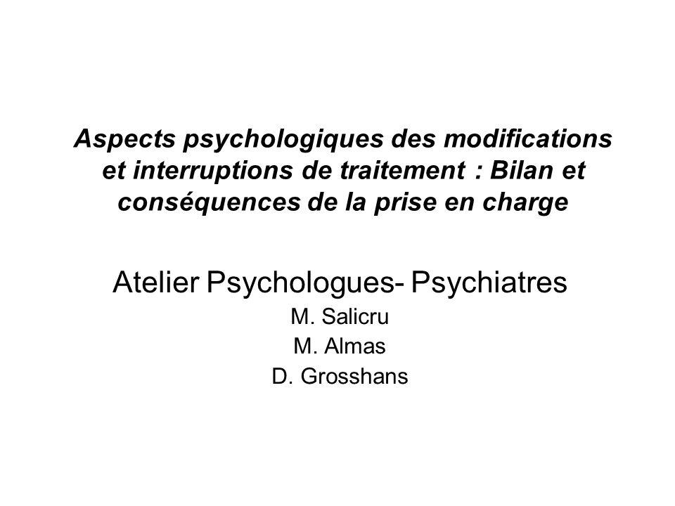Aspects psychologiques des modifications et interruptions de traitement : Bilan et conséquences de la prise en charge Atelier Psychologues- Psychiatre