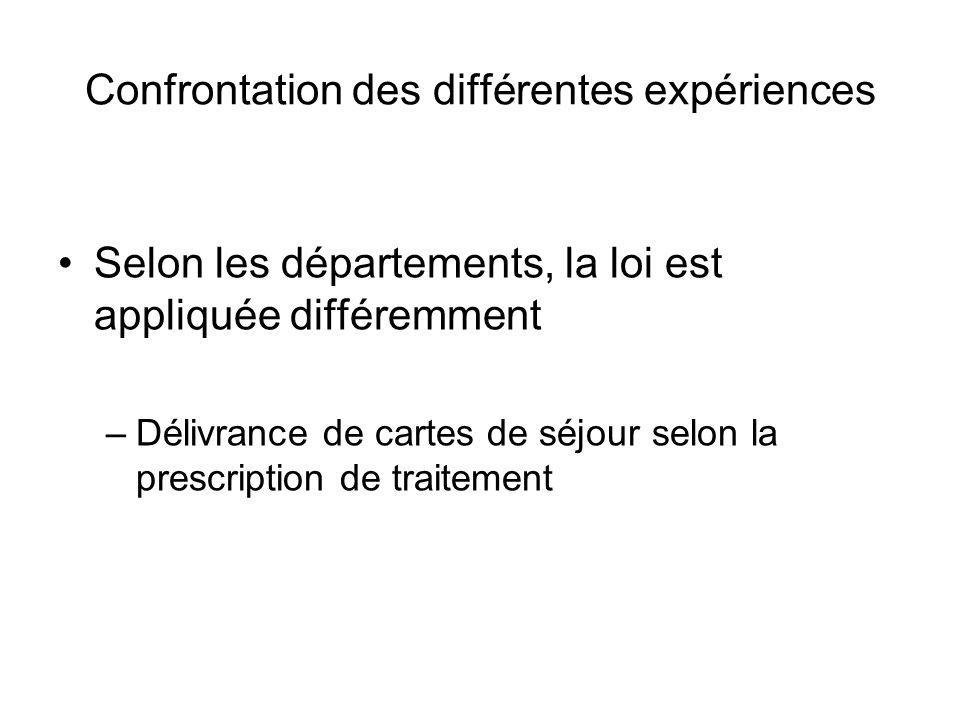 Confrontation des différentes expériences Selon les départements, la loi est appliquée différemment –Délivrance de cartes de séjour selon la prescript