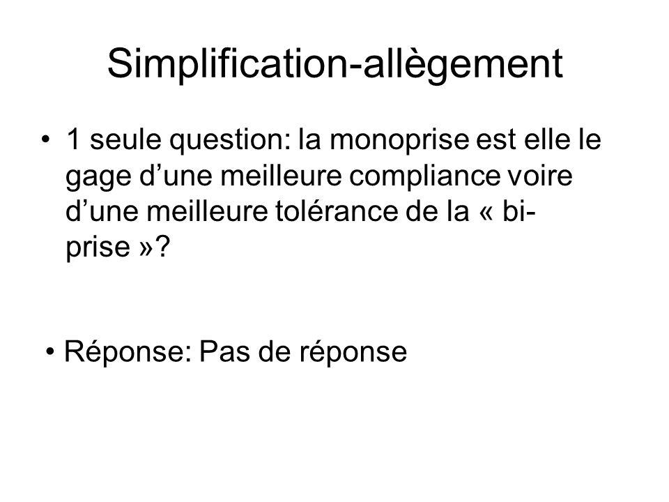 Simplification-allègement 1 seule question: la monoprise est elle le gage dune meilleure compliance voire dune meilleure tolérance de la « bi- prise »