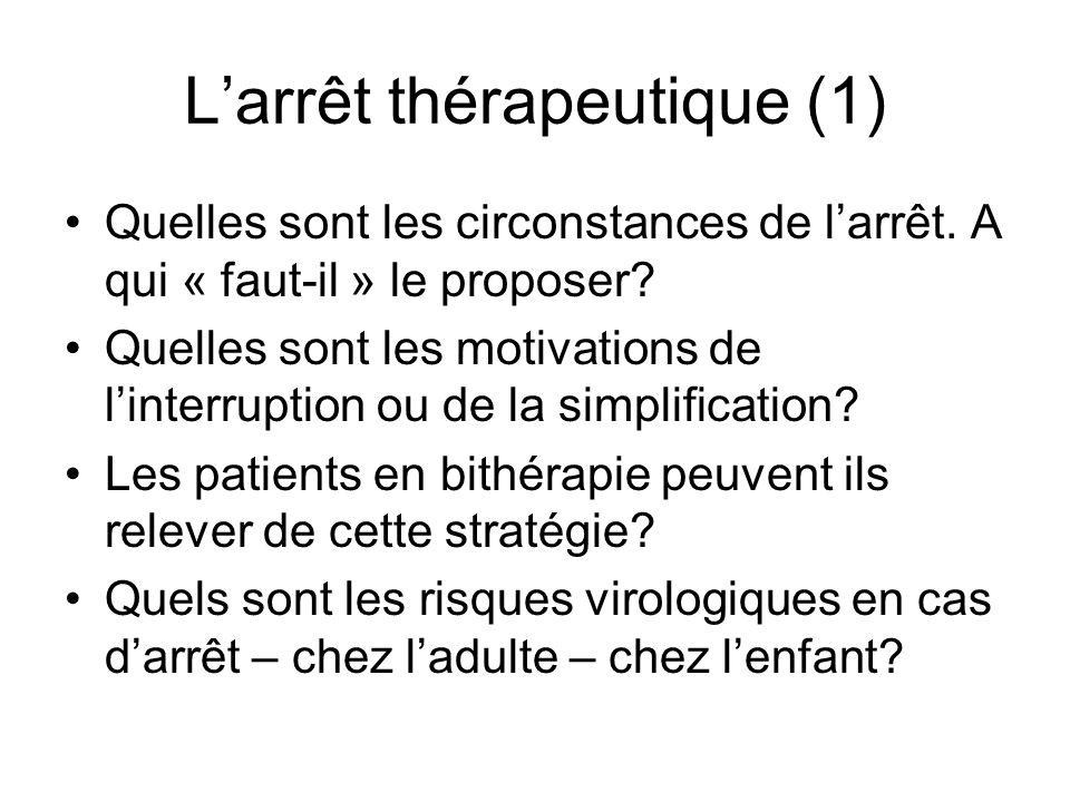 Larrêt thérapeutique (1) Quelles sont les circonstances de larrêt. A qui « faut-il » le proposer? Quelles sont les motivations de linterruption ou de
